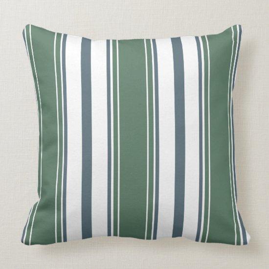 Blue-Gray, Sage Green, White Vertical Stripes  | Throw Pillow
