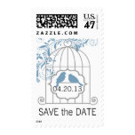 Blue Gray Save The Date Birdcage Wedding Postage