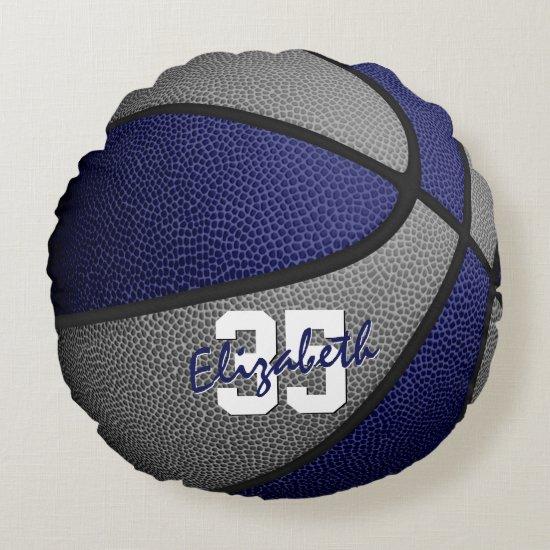 blue gray school colors girls boys basketball room round pillow
