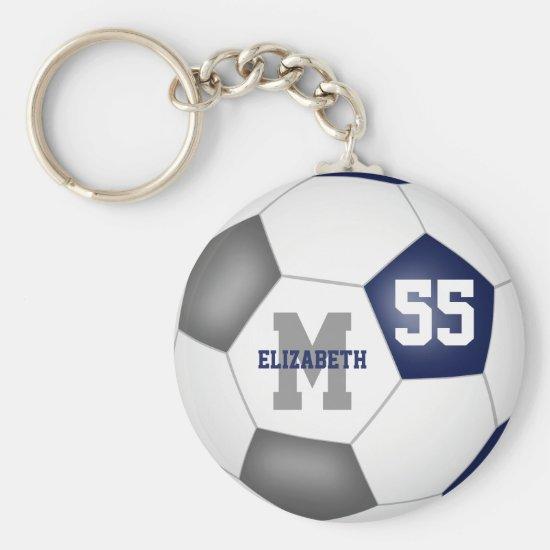 blue gray school colors girls boys soccer ball keychain