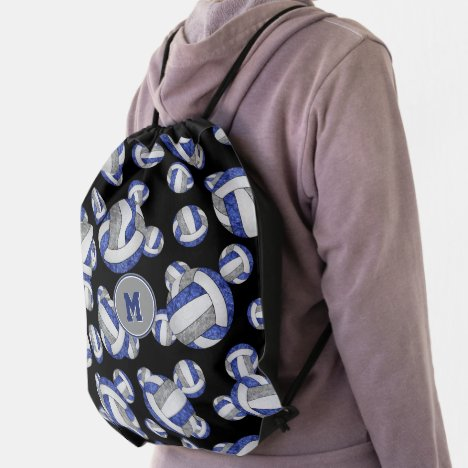 blue gray school colors girly volleyballs pattern drawstring bag