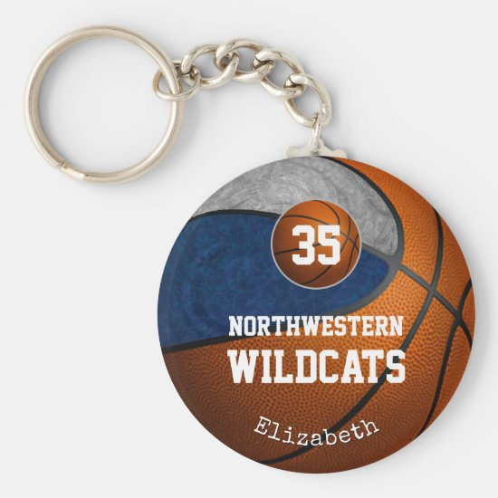 blue gray school team colors girls' basketball keychain