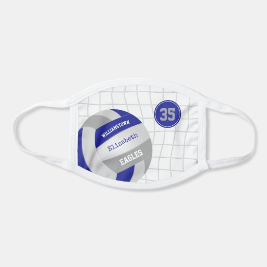 blue gray school team colors girls volleyball face mask