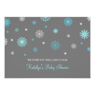 Blue Gray Snow Christmas Custom Baby Shower Custom Invites