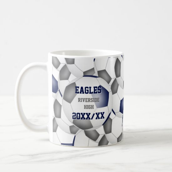 blue gray soccer school team colors coach gift coffee mug