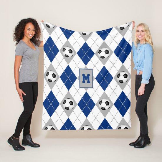 blue gray soccer team colors argyle pattern fleece blanket