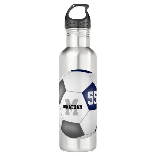 blue gray soccer team colors boys girls stainless steel water bottle