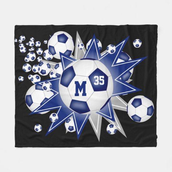 blue gray sports room decor soccer ball blowout fleece blanket