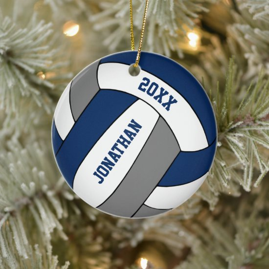 blue gray sports team colors boys volleyball ceramic ornament