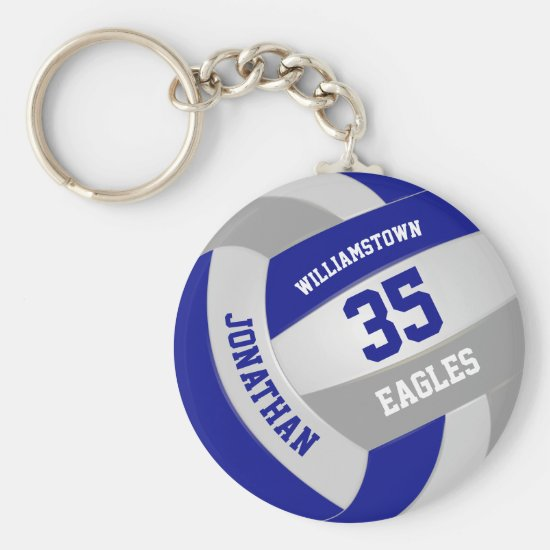 blue gray sports team colors volleyball keychain
