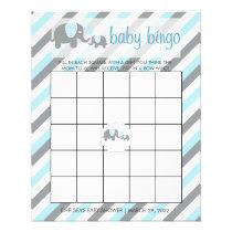 Blue & Gray Stripes Baby Elephant    Bingo Flyer
