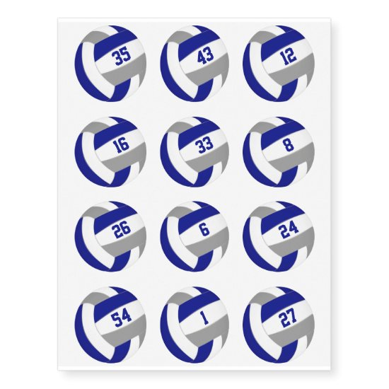 blue gray team color volleyballs w jersey numbers temporary tattoos