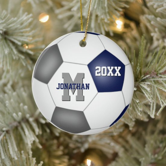 blue gray team colors boys girls soccer keepsake ceramic ornament