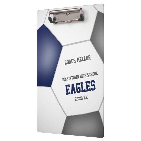 blue gray team colors custom soccer coach clipboard