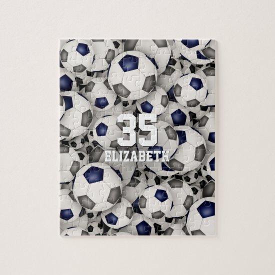 blue gray team colors girls boys soccer jigsaw puzzle