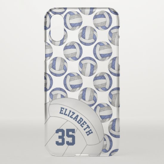 blue gray team colors girls' volleyball gifts iPhone x case