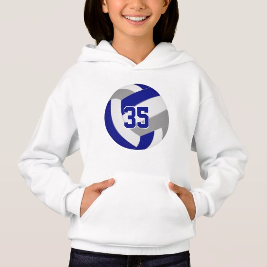 blue gray team colors jersey number volleyball hoodie