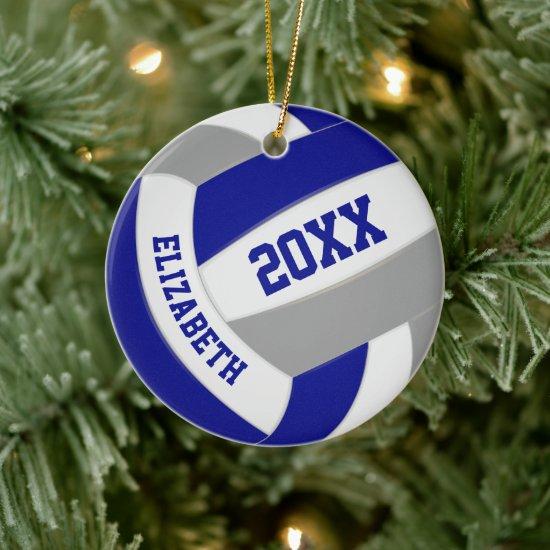 blue gray team colors keepsake volleyball ceramic ornament
