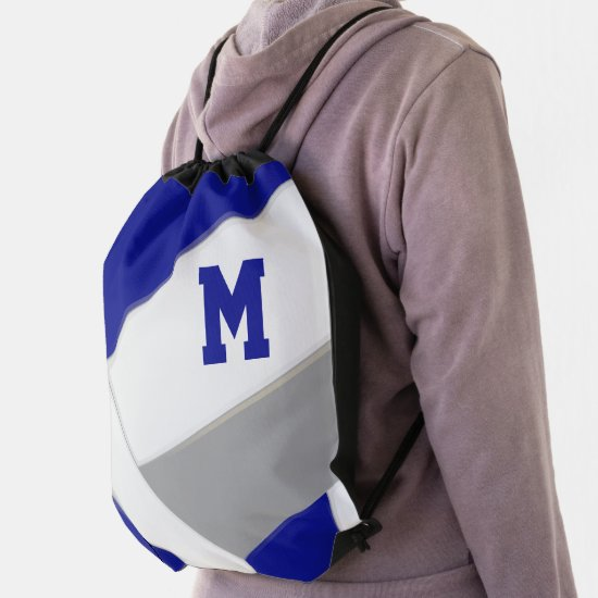 blue gray team colors monogrammed volleyball drawstring bag