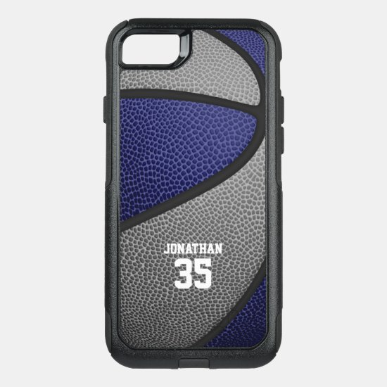 blue gray team colors personalized basketball OtterBox commuter iPhone SE/8/7 case