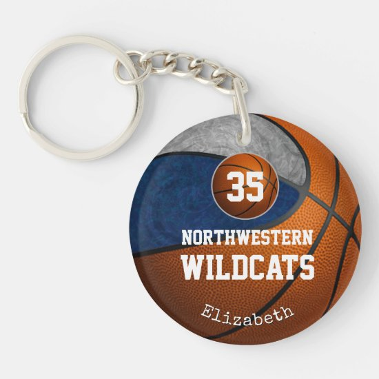 Blue gray team colors play like a girl basketball keychain
