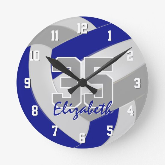 blue gray team colors players name volleyball round clock