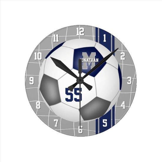 blue gray team colors varsity stripes soccer round clock
