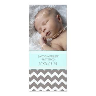"Blue Gray Template New Baby Birth Announcement 4"" X 9.25"" Invitation Card"