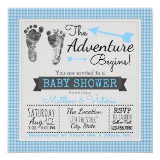 Blue Gray The Adventure Begins Boy Baby Shower Card