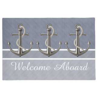 Blue Gray Tri-Toned Pinstriped Anchor Doormat