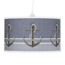 Blue Gray Tri-Toned Pinstriped Anchor Pendant Lamp