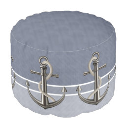 Blue Gray Tri-Toned Pinstriped Anchor Pouf