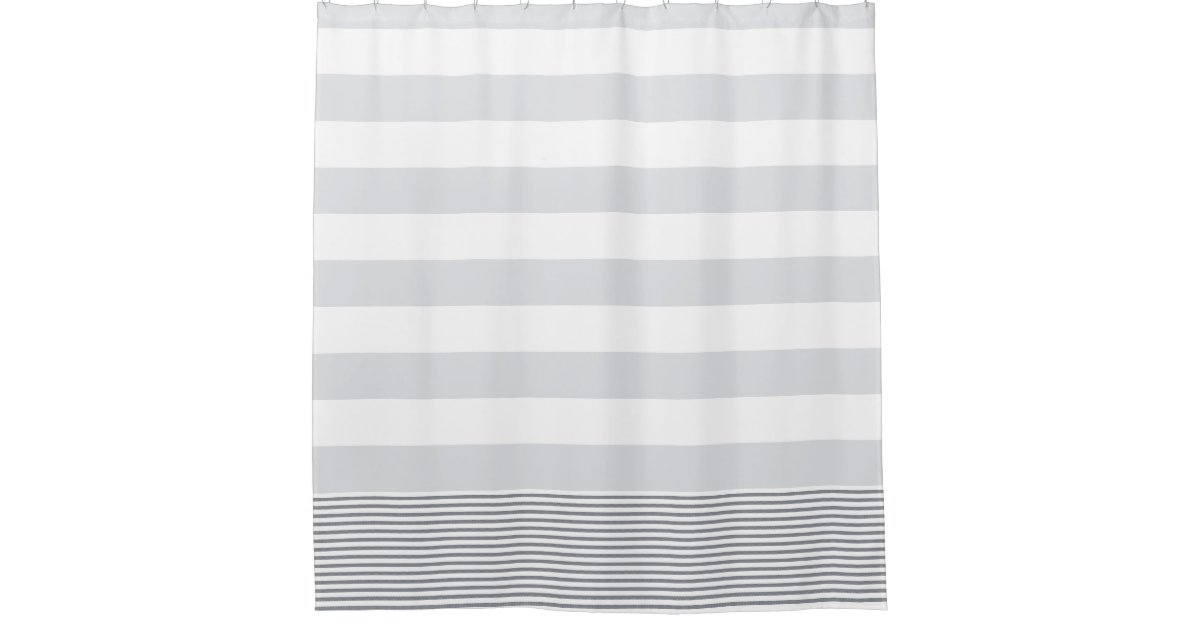 Blue Gray Turkish Stripe Shower Curtain Zazzle - Gray and white striped shower curtain