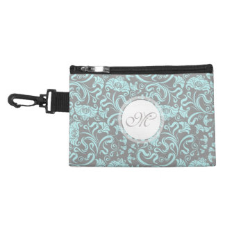 Blue Gray Vintage Floral Pattern Monogram clip on Accessory Bag