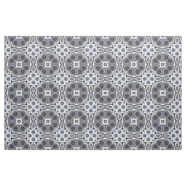 Aztec Themed Blue Gray Violet Floral Bali Batik Pattern Fabric