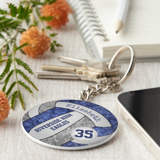 blue & gray volleyball keychain school mascot name