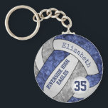 "blue &amp; gray volleyball keychain school mascot name<br><div class=""desc"">This blue, gray and white volleyball keychain with custom team and school mascot name features a floral kaleidoscopic pattern blended with the blue and gray volleyball panels and an artsy abstract swirl pattern blended with the white panels - her name and team name are customizable, as is her jersey number...</div>"