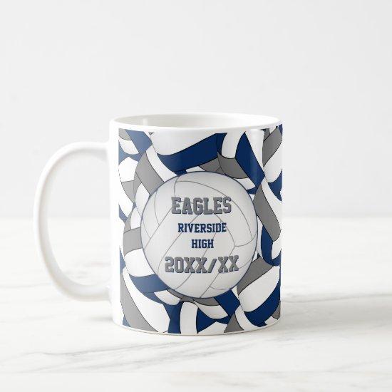 blue gray volleyball team coach thank you gift coffee mug