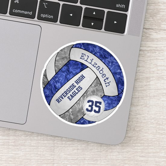 blue & gray volleyball w school mascot name sticker