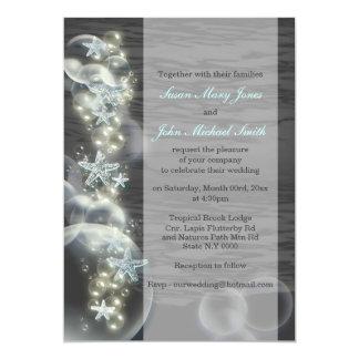 "Blue gray wedding engagement anniversary 5"" x 7"" invitation card"