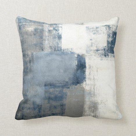 Blue/Gray/White Abstract Decor Pillow