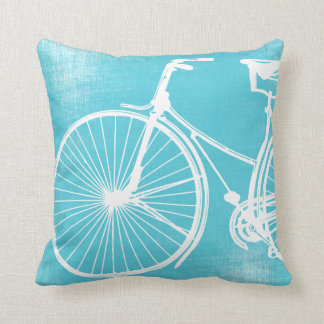 Blue Gray White Bicycle Pillow
