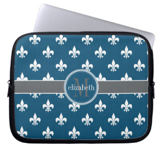 Blue Gray White Fleur de Lis Monogram Laptop Sleeve