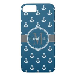 Blue Gray White Ship Anchors Monogram iPhone 8/7 Case