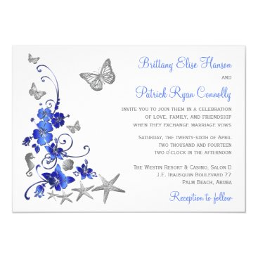 Beach Themed Blue, Gray, White Tropical Beach Wedding Invite