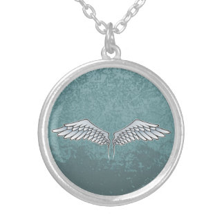Blue-gray wings silver plated necklace