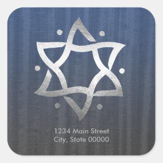 Blue Gray Wooden Silver Star Return Address Square Sticker