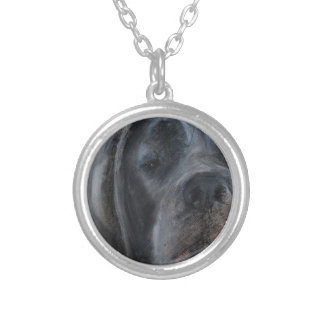 Blue Great Dane Face Silver Plated Necklace