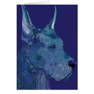 Blue Great Dane in Batik Greeting Card
