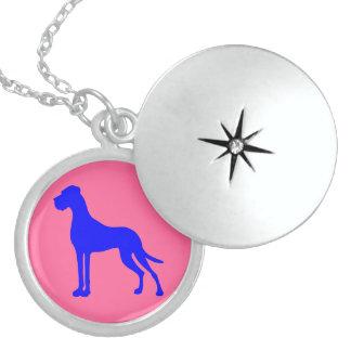 Blue Great Dane Round Locket Necklace